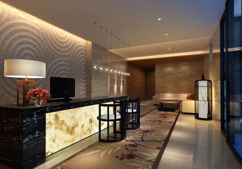 酒店新中式风格前台接待装修设计效果图图片