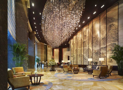 酒店新中式风格大堂装修设计效果图