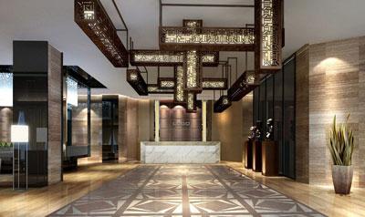 上海酒店装修:新中式酒店大堂设计案例图片